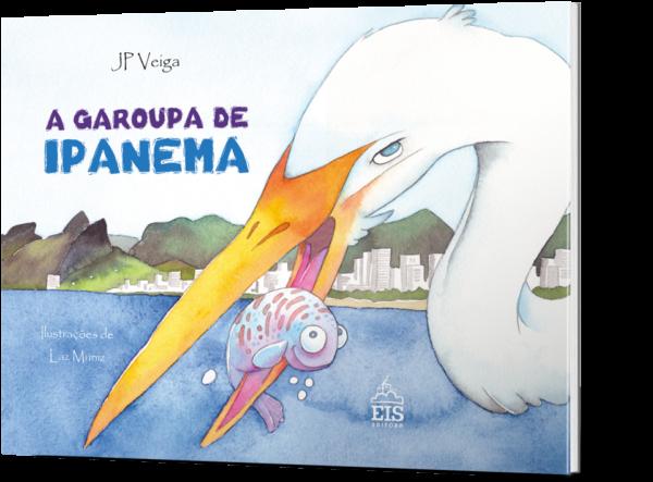 Ilustração mostrando uma garça com um peixinho no bico. Ao fundo, paisagem da Lagoa Rodrigo de Freitas.